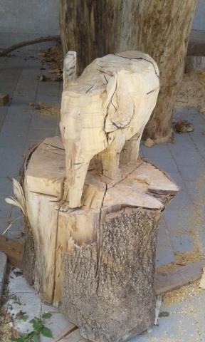 Holzskulptur Elefant